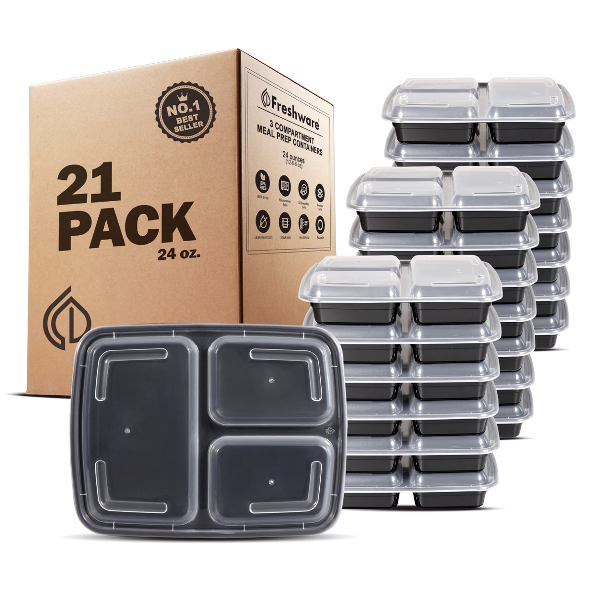 black meal prep containers with clear tops and brown cardboard box, cheap meal prep containers