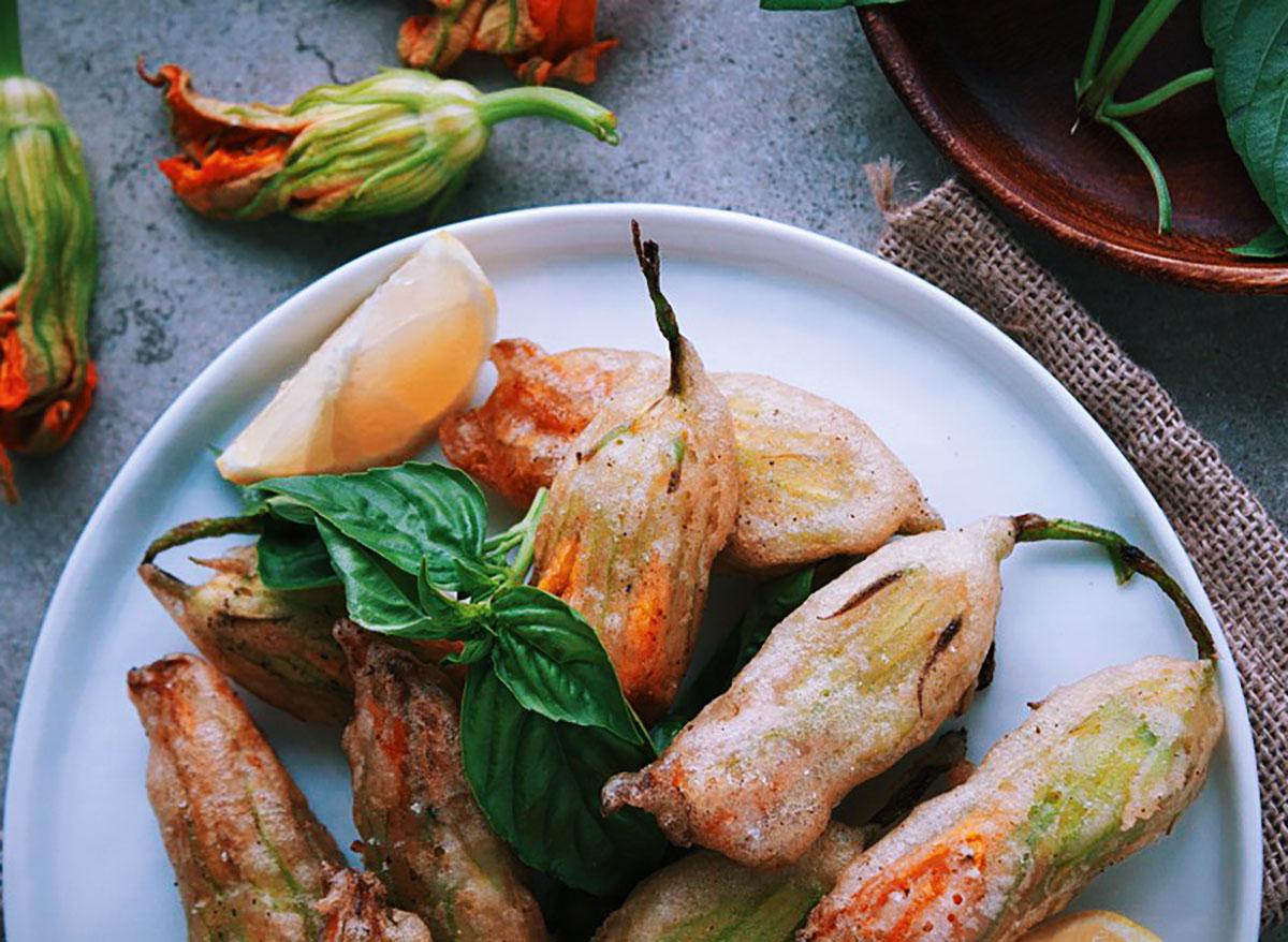 stuffed zucchini blossoms with basil and ricotta