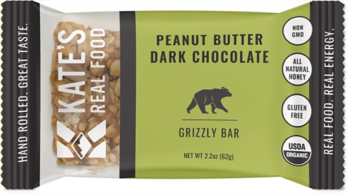 kate's real food peanut butter dark chocolate grizzly bar, gluten-free snacks