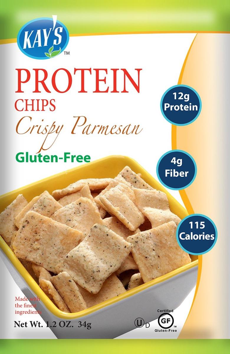Kay's protein chips in crispy parmesan, gluten-free snacks