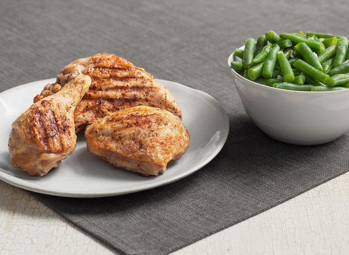 healthiest restaurant dish kfc grilled chicken breast green beans