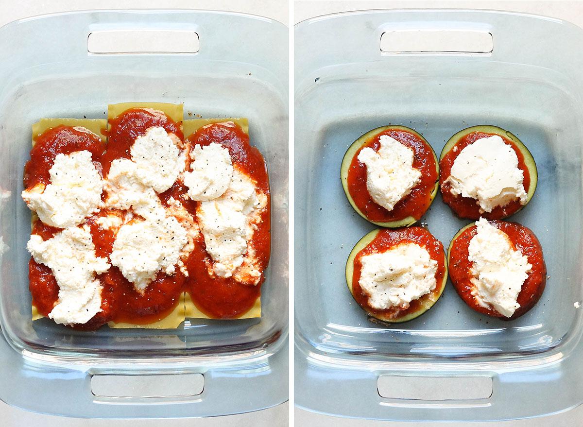 Low carb swaps using eggplant slices instead of lasagna noodles