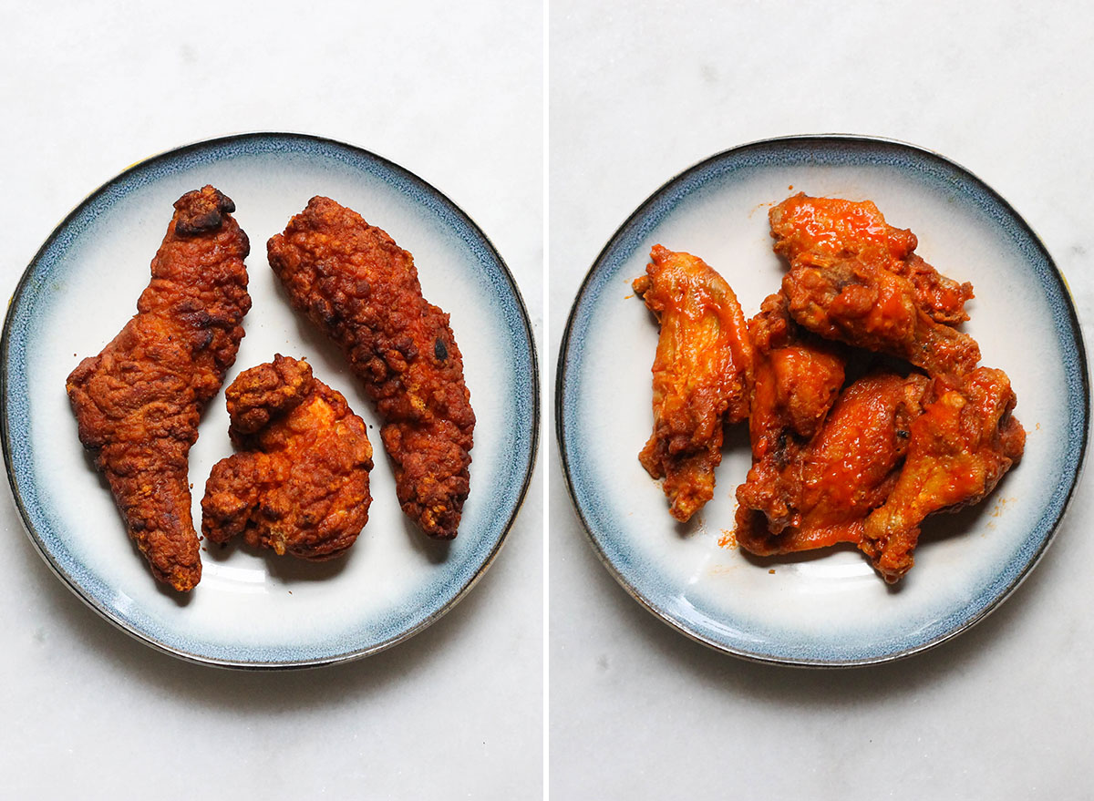 Swapping out breaded chicken tenders with buffalo wings