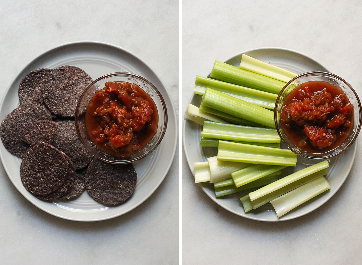 Swapping out chips and salsa with vegetables and salsa