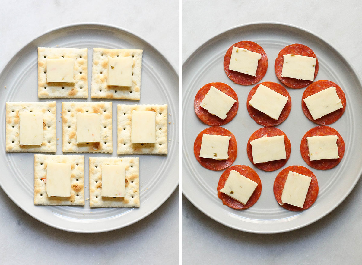 Swapping out crackers and cheese with pepperoni