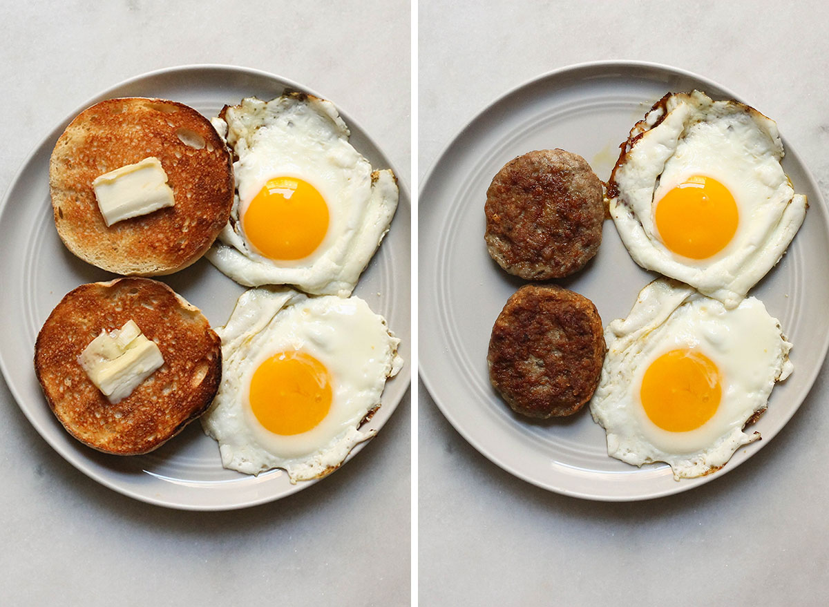 Low carb swaps eating sausage instead of toast with eggs
