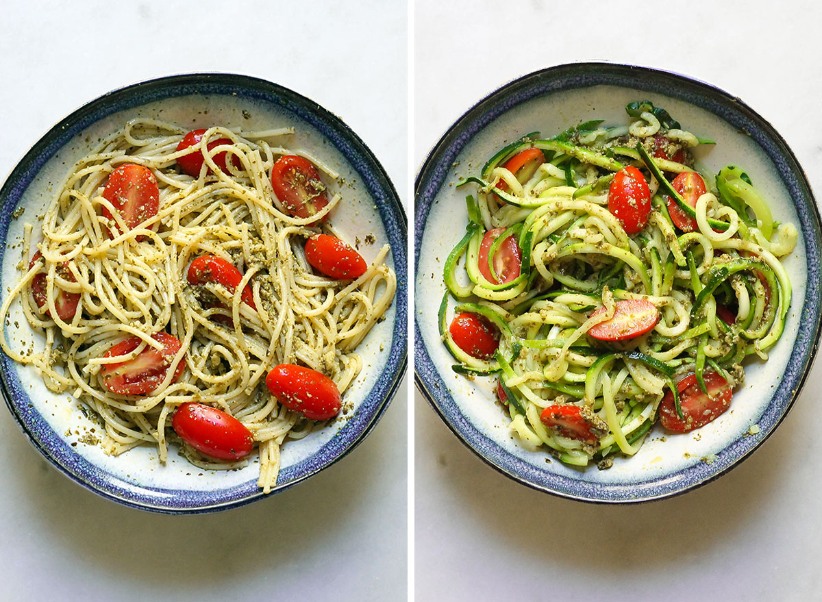 Swapping out pasta with zucchini noodles