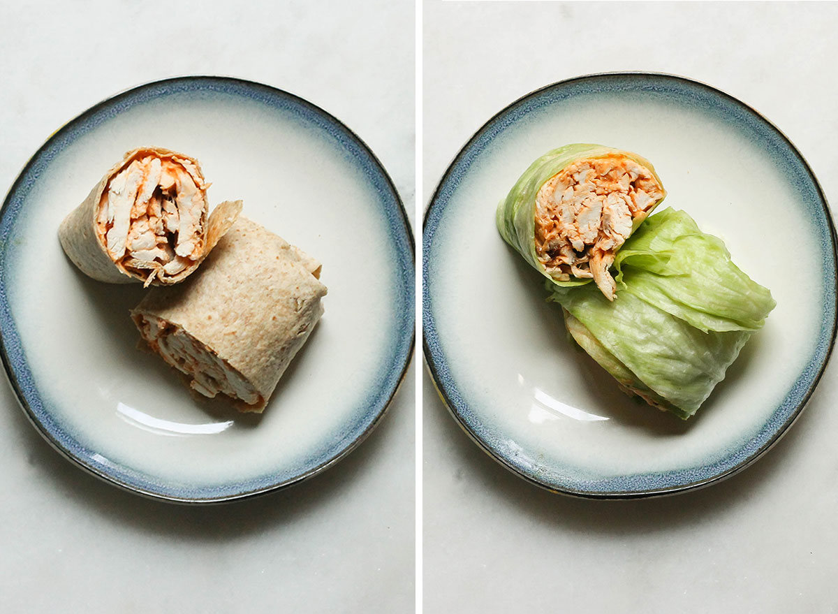 Swapping whole wheat wraps with lettuce wraps