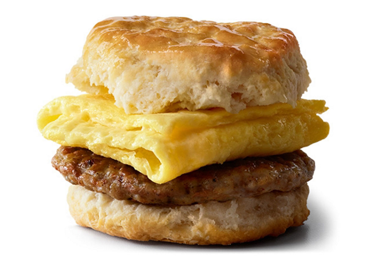 mcdonalds sausage biscuit with egg regular size biscuit