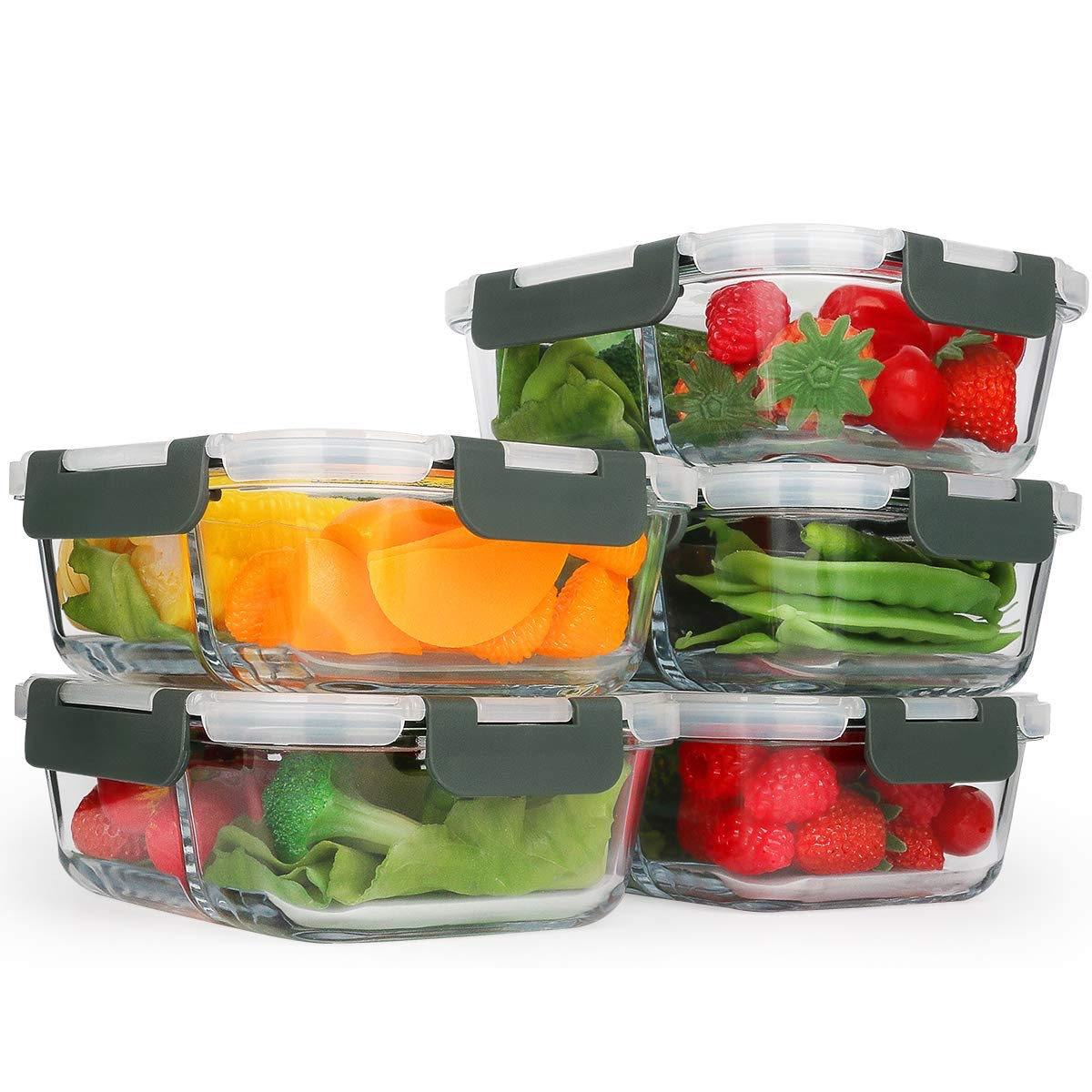glass containers full of fruit and vegetables, cheap meal prep containers