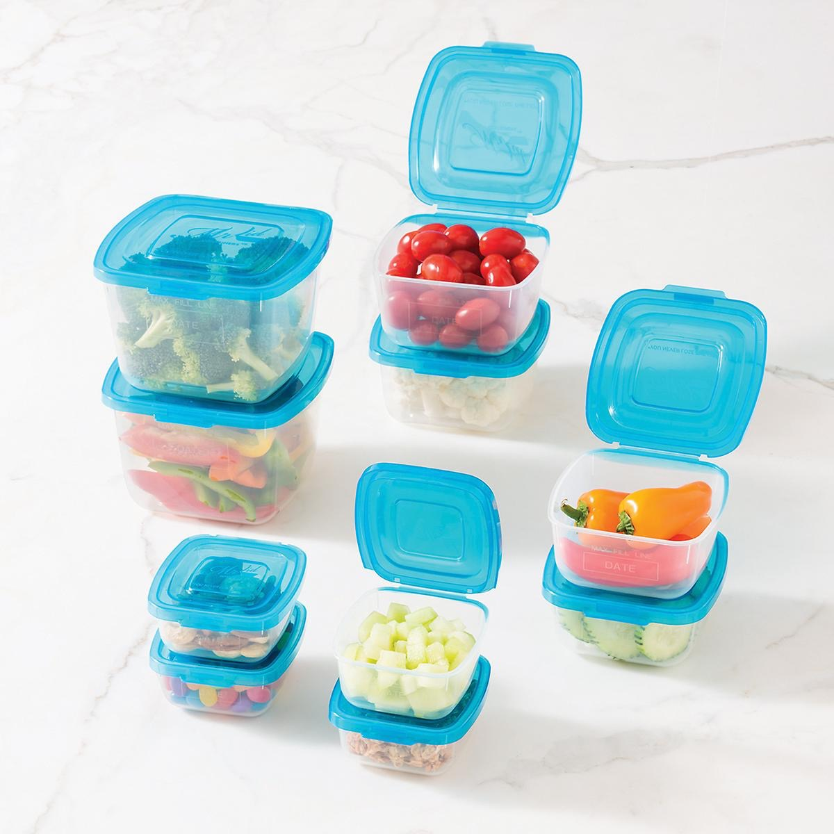 clear storage boxes with blue lids, cheap meal prep containers