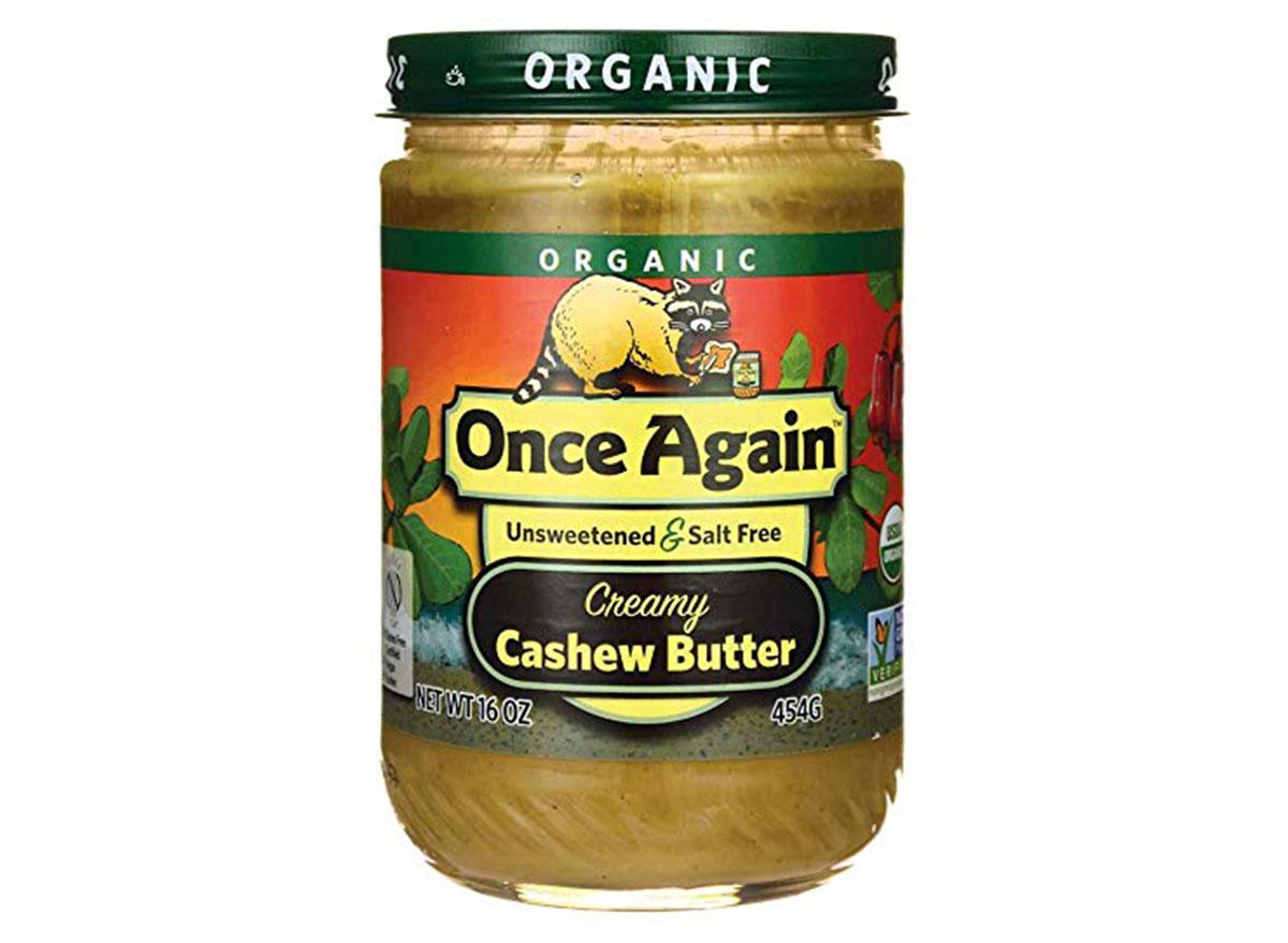 once again organic creamy cashew butter jar