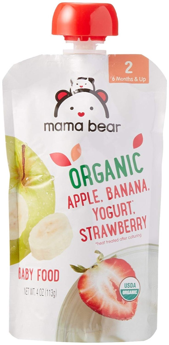 mama bear organic yogurt packs, peanut free preschool snacks