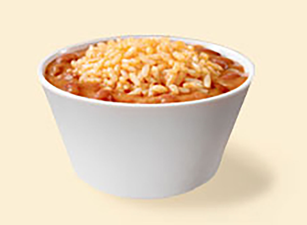 bowl of popeyes red beans and rice side dish