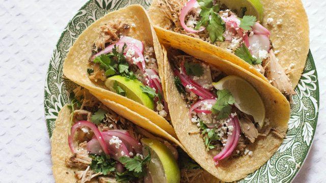 Four pork carnitas tacos on a plate