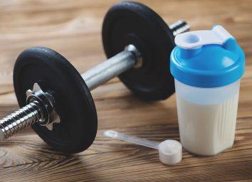 protein powder drink hand weight