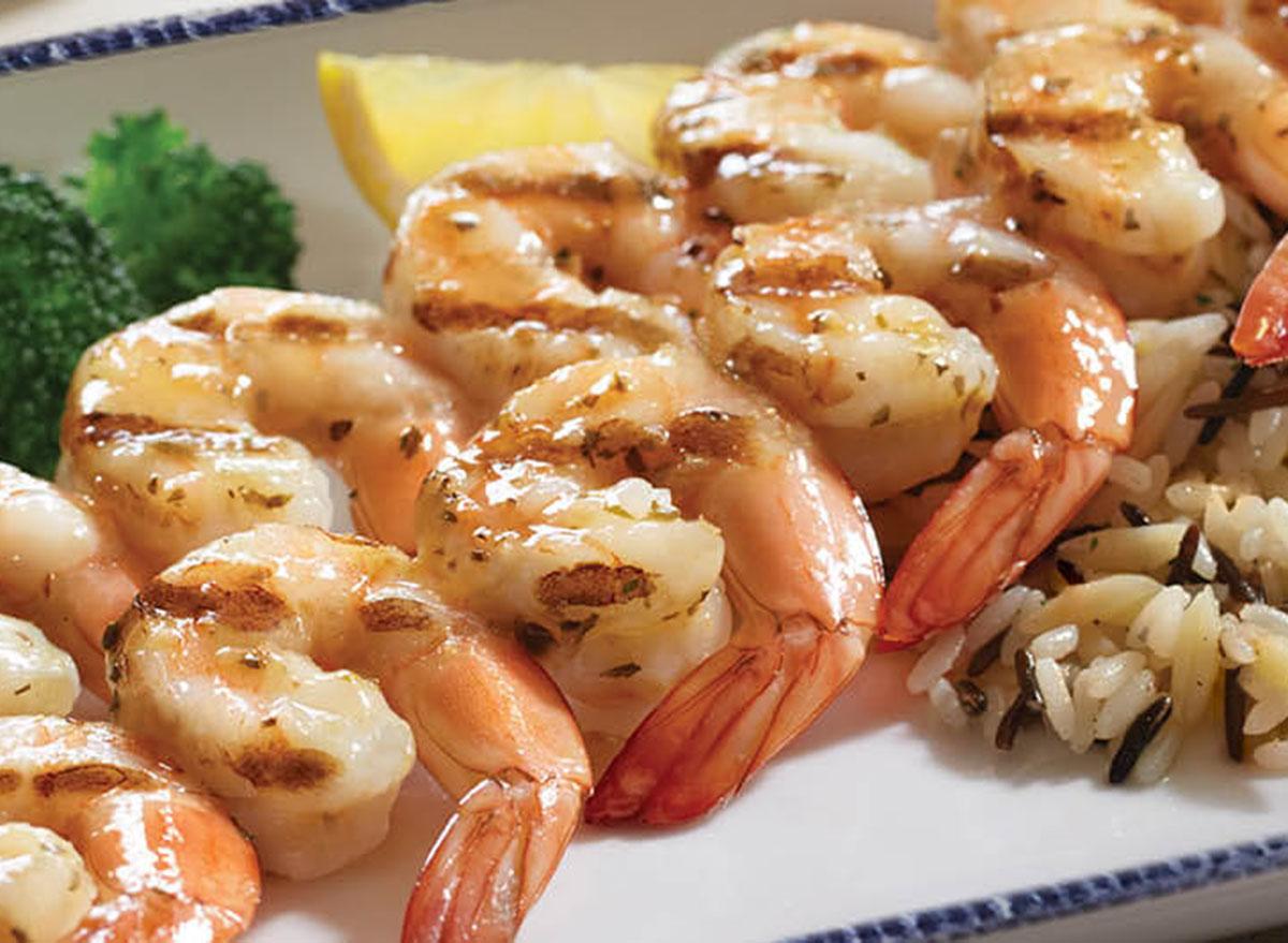 healthiest restaurant dish red lobster wood grilled shrimp