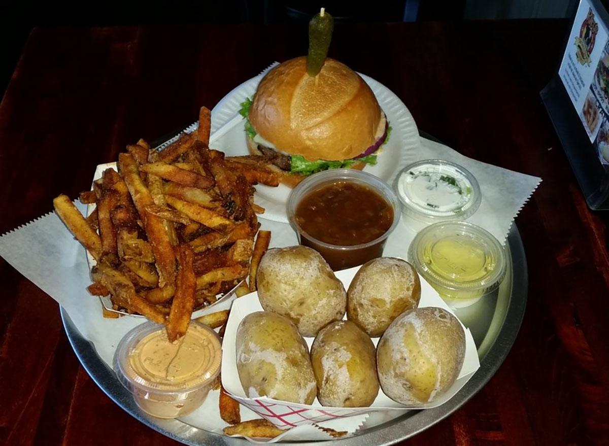rileys hot dog burger gourmet house with fries and salty potato balls