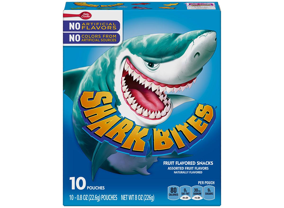 box of shark bites fruit snacks