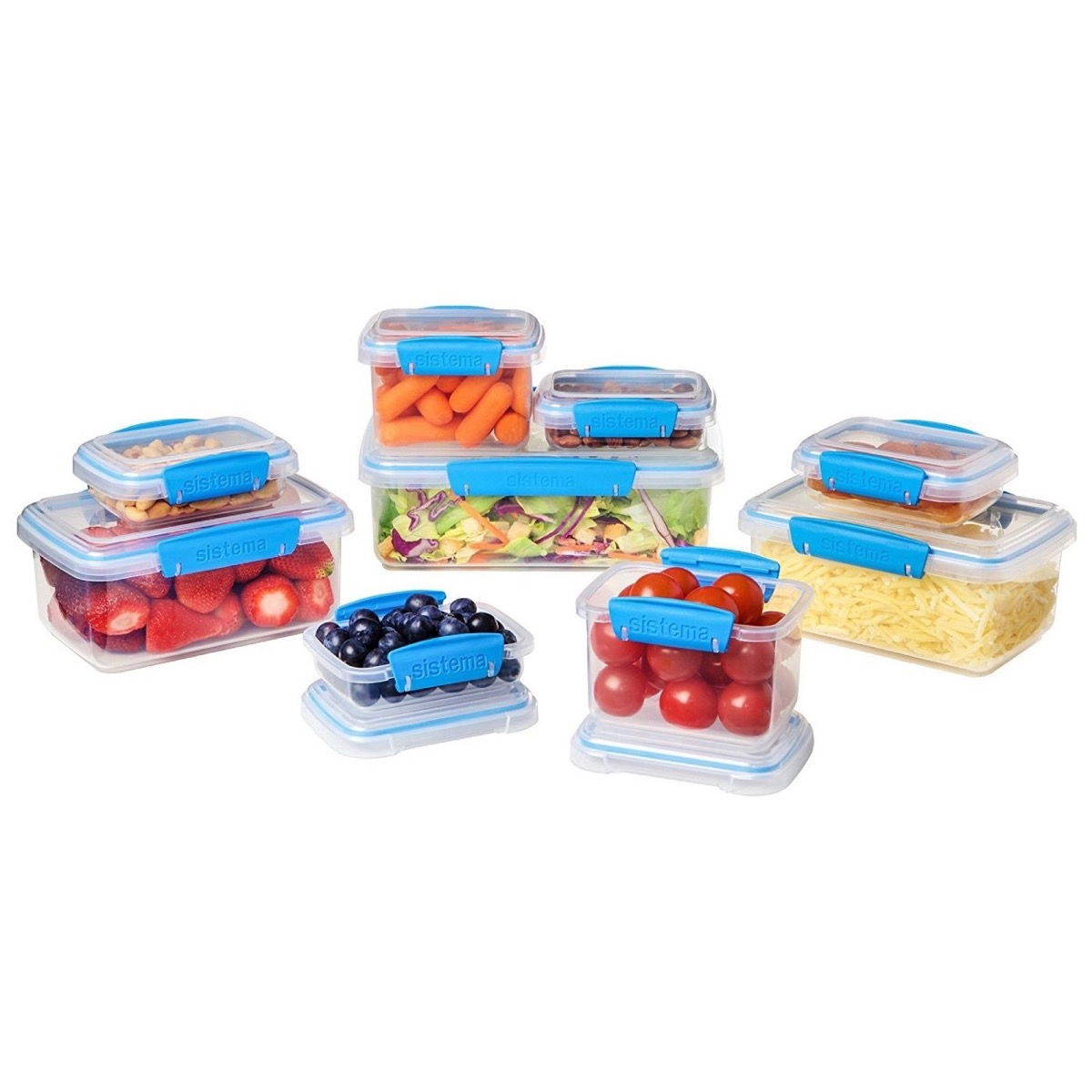 clear food containers with blue locking mechanisms, cheap meal prep containers