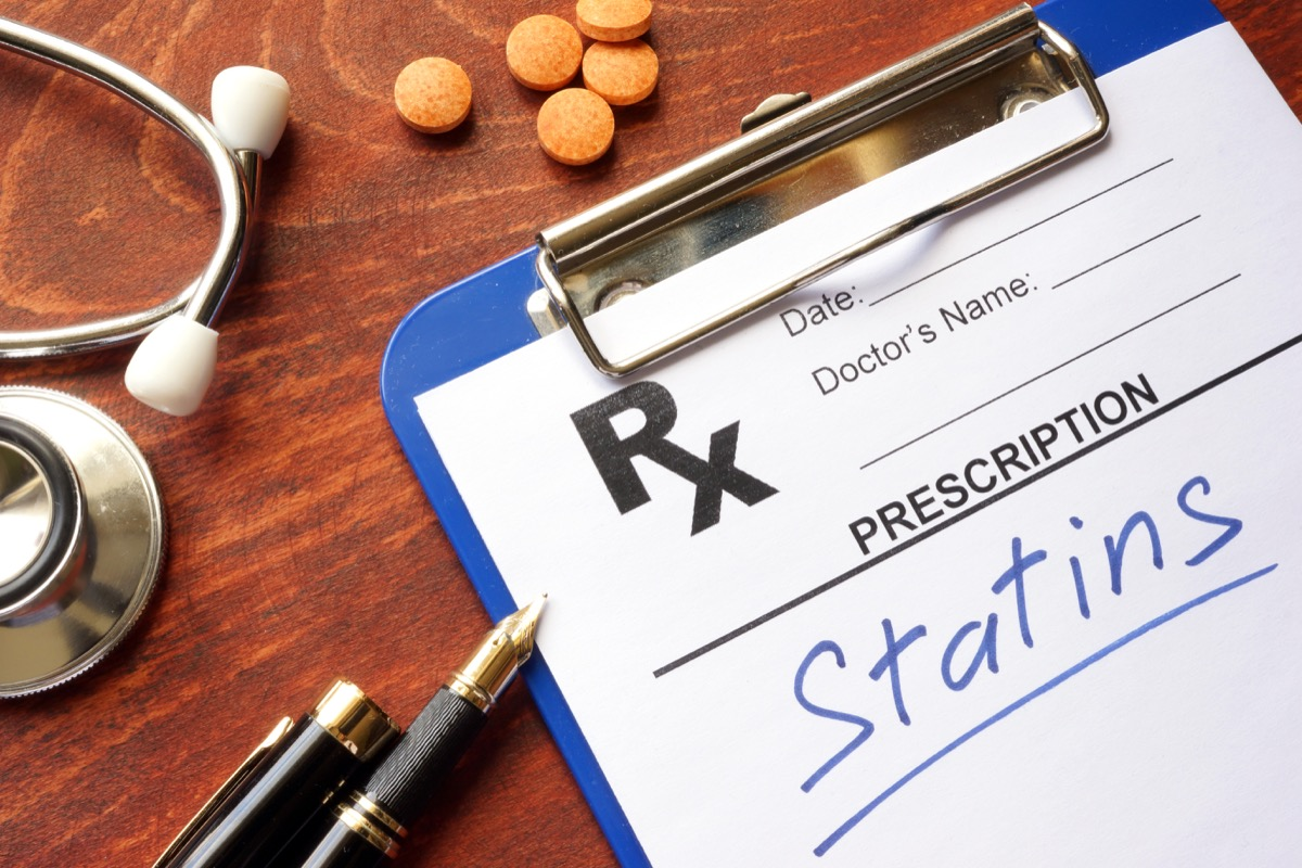 written prescription statins and stethoscope