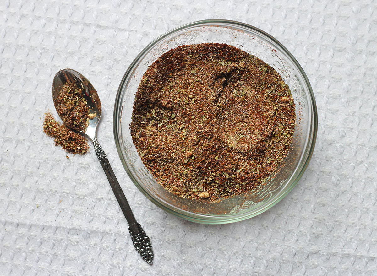 Homemade taco seasoning mixed together in a bowl.