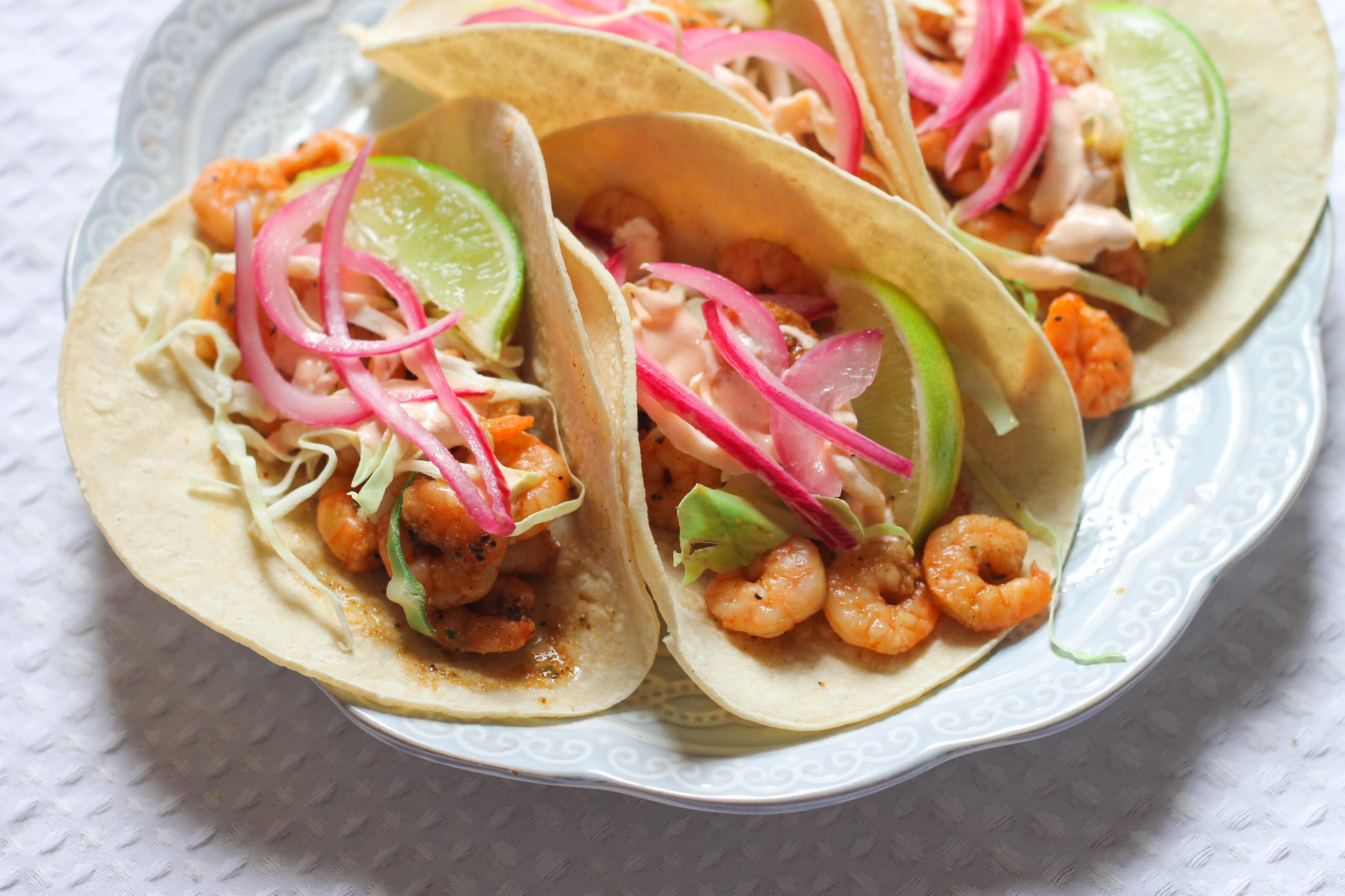 Close up of shrimp tacos