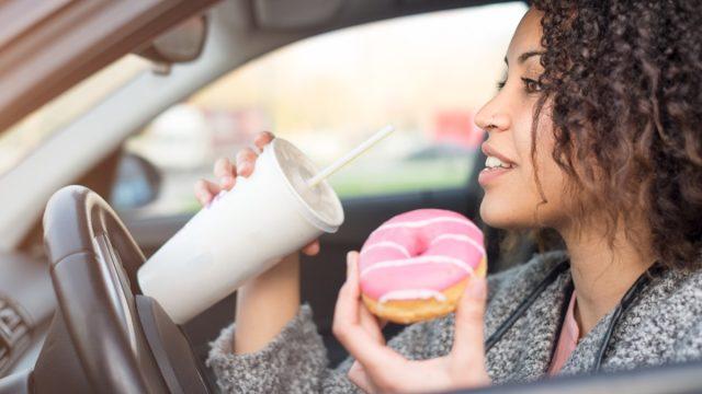 Woman fast food car