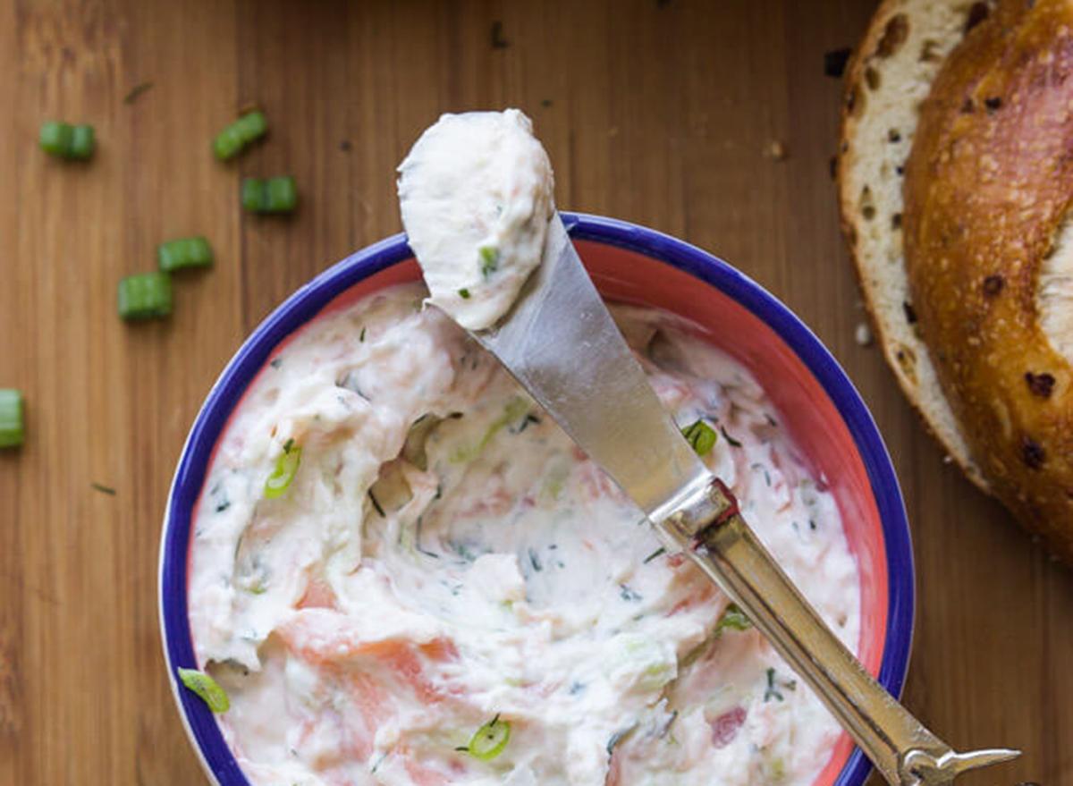 Smoked salmon spread made with greek yogurt ready to go on a bagel