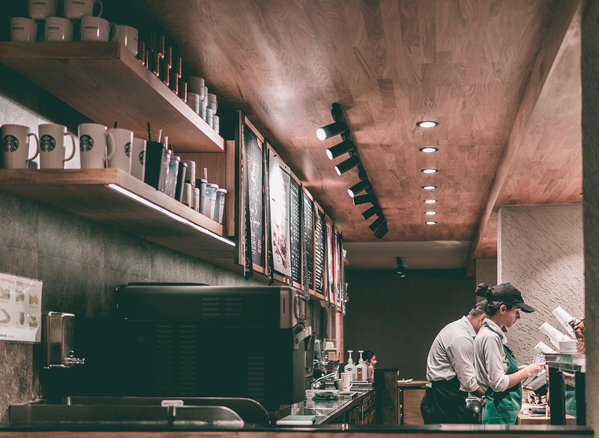 Starbucks baristas working