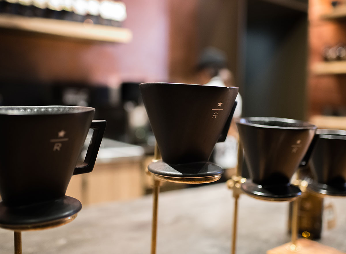 Starbucks pour over Reserve coffee at location
