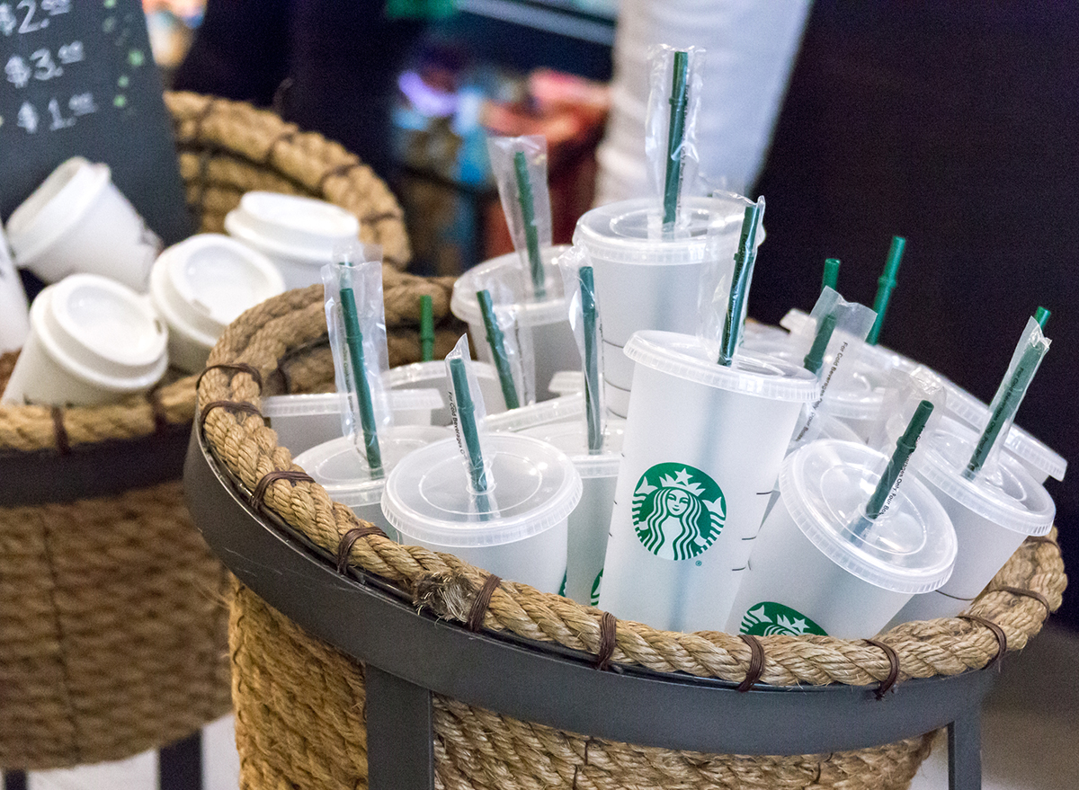 Starbucks reusable cups and straws in a basket