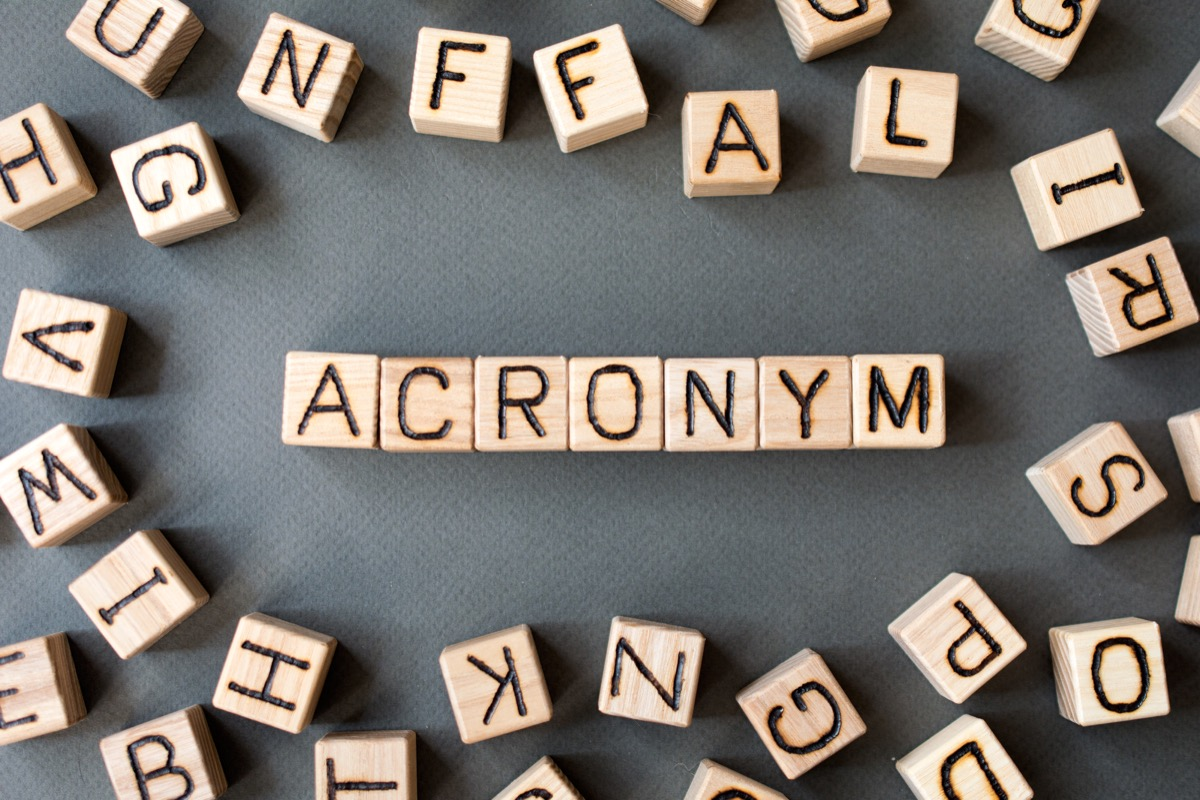 the word acronym wooden cubes