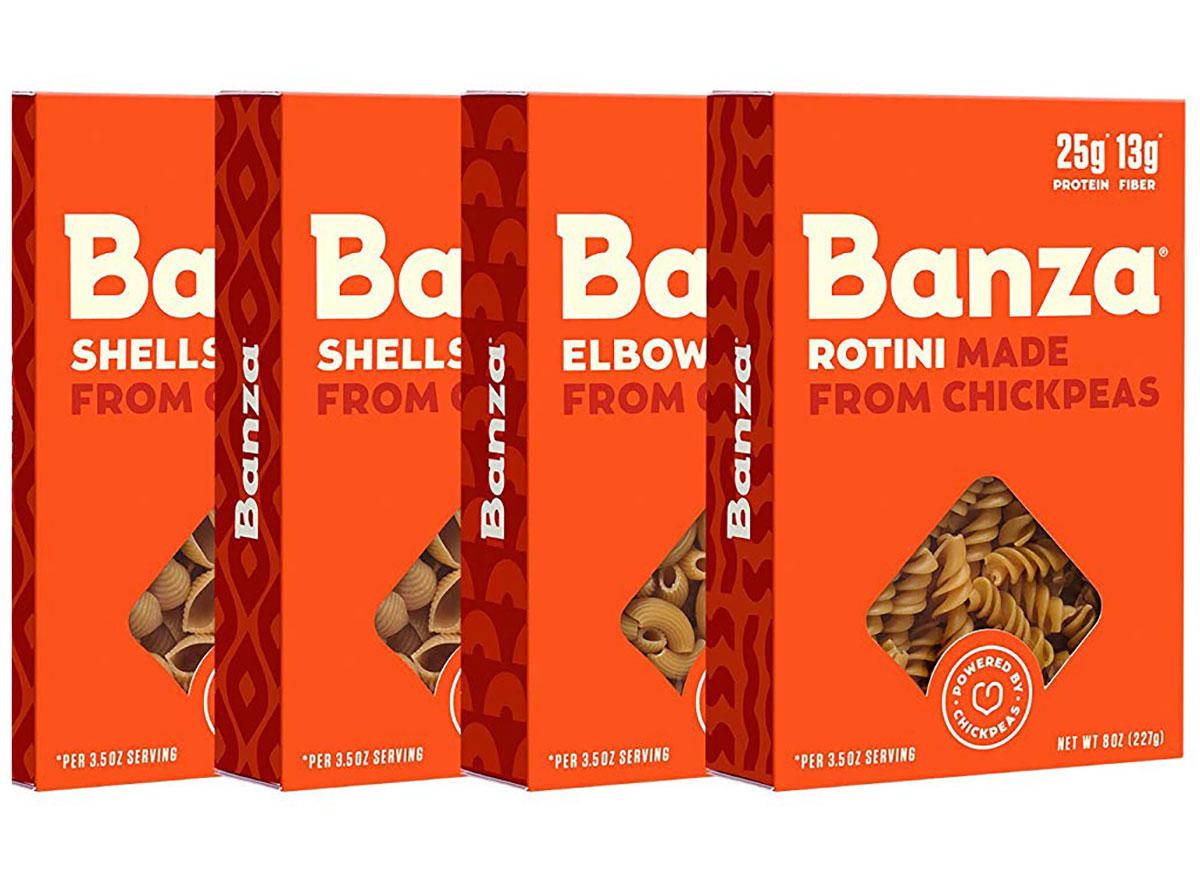 banza chickpea pasta boxes