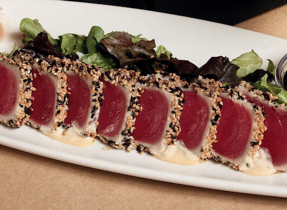 bonefish grill ahi tuna sashimi on a plate with garnish