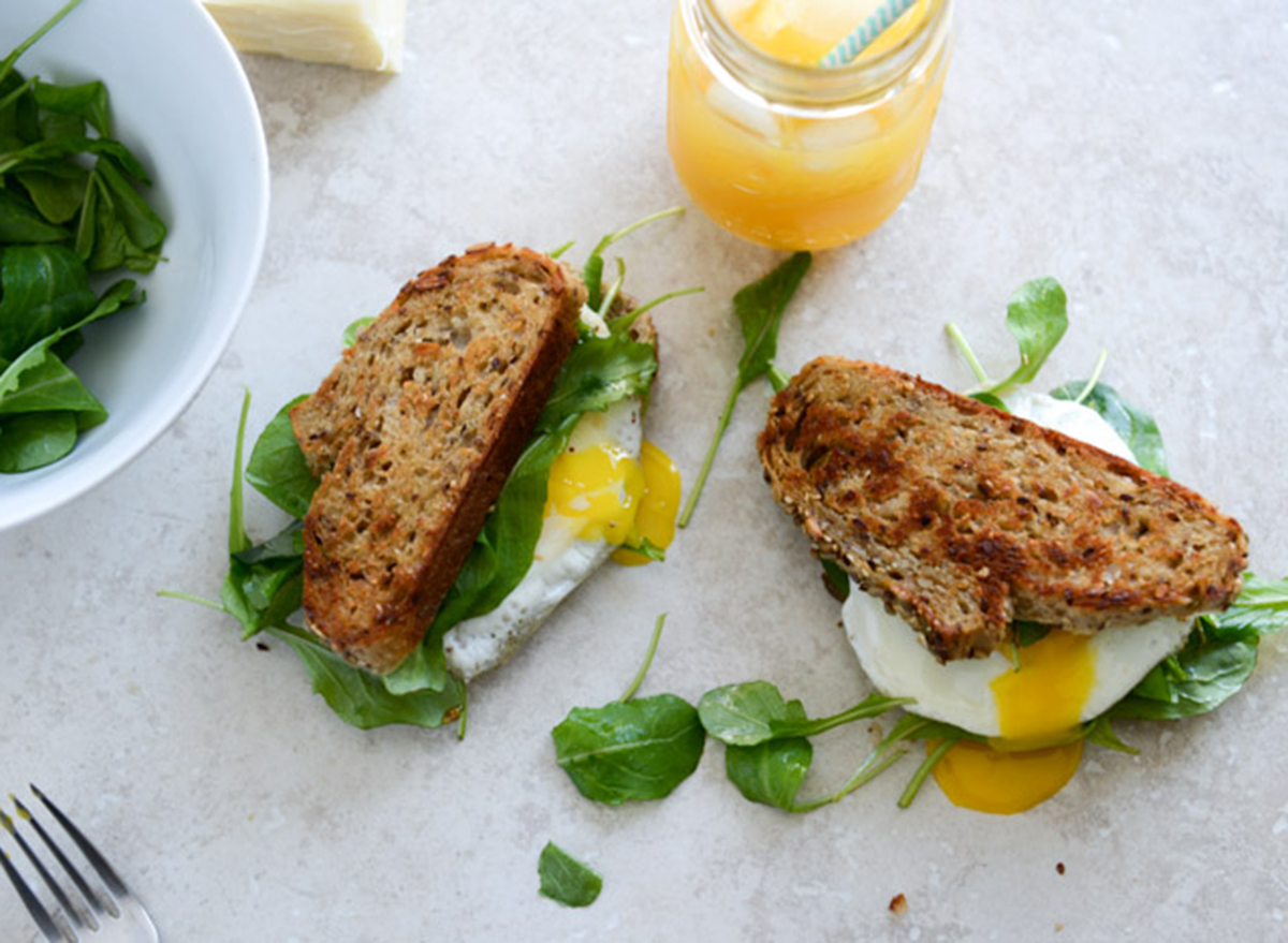 Breakfast sandwich with whole grain bread and spinach
