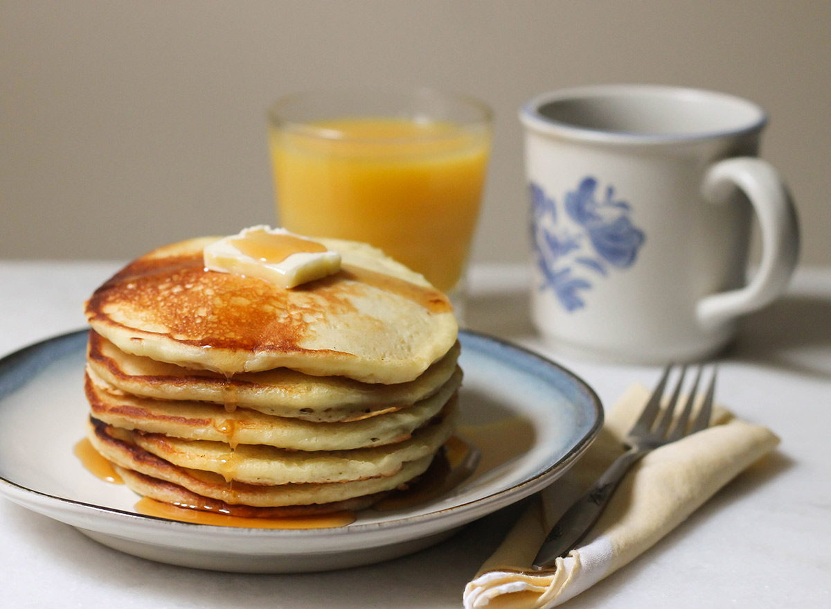 Copycat cracker barrel pancake recipe for breakfast with butter and syrup