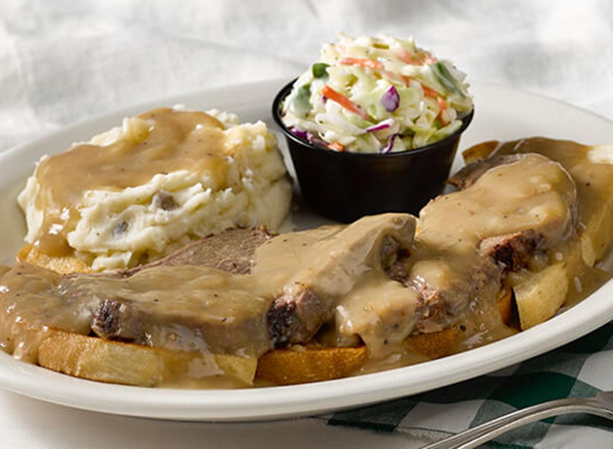 cracker barrel open faced roast beef sandwich