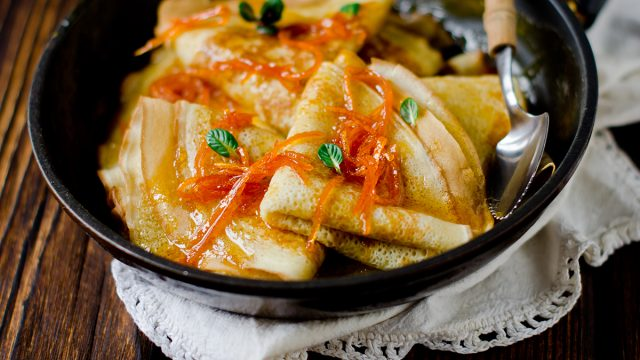 crepes suzette in a bowl