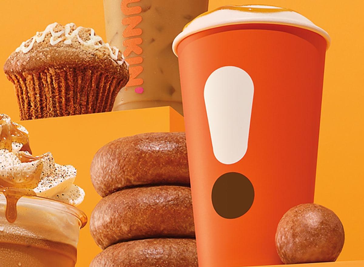 dunkin pumpkin donut and latte