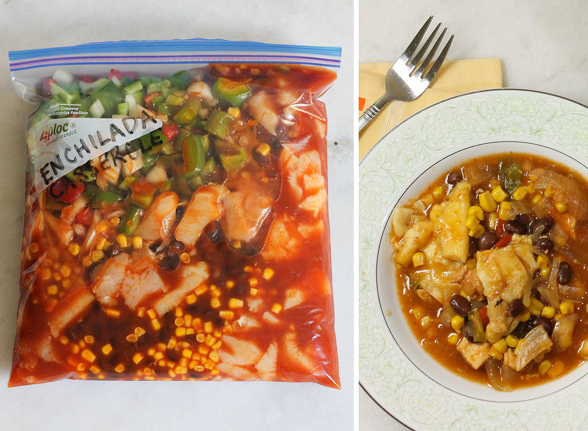 Slow cooker chicken enchilada casserole in a freezer bag for later