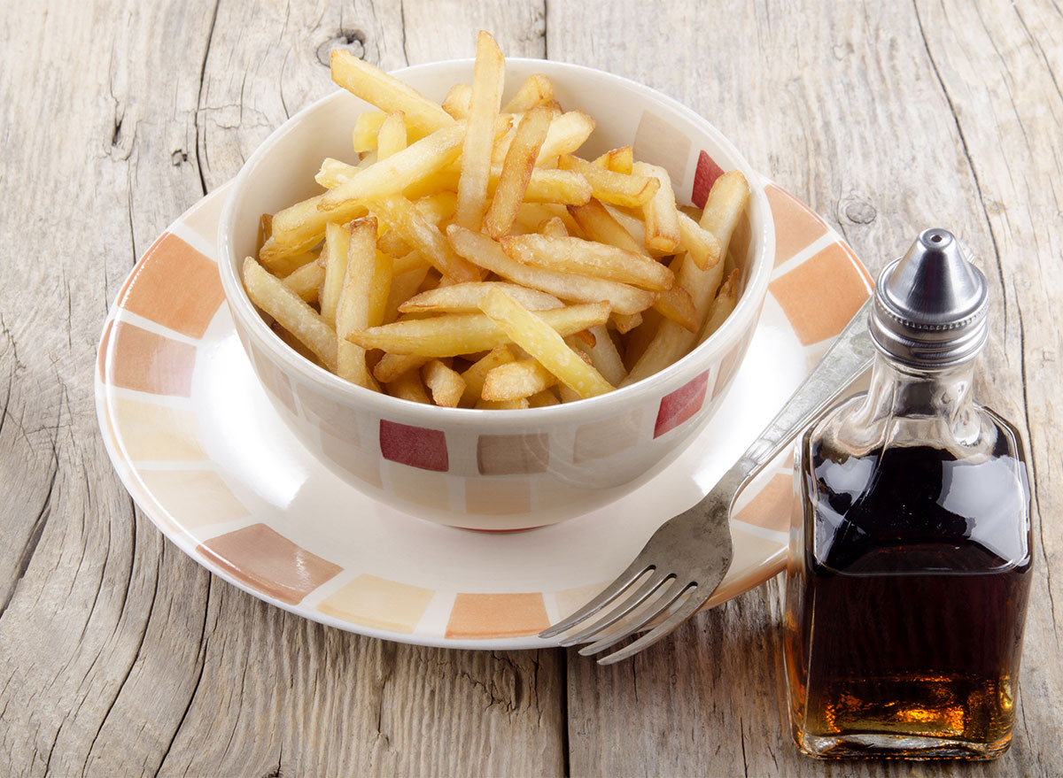 bowl of french fries with malt vinegar