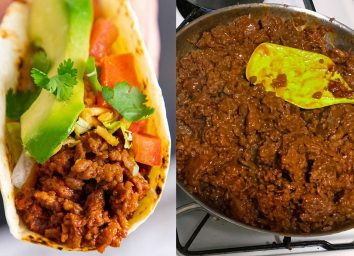 Beyond beef taco next to beyond meat cooking in skillet