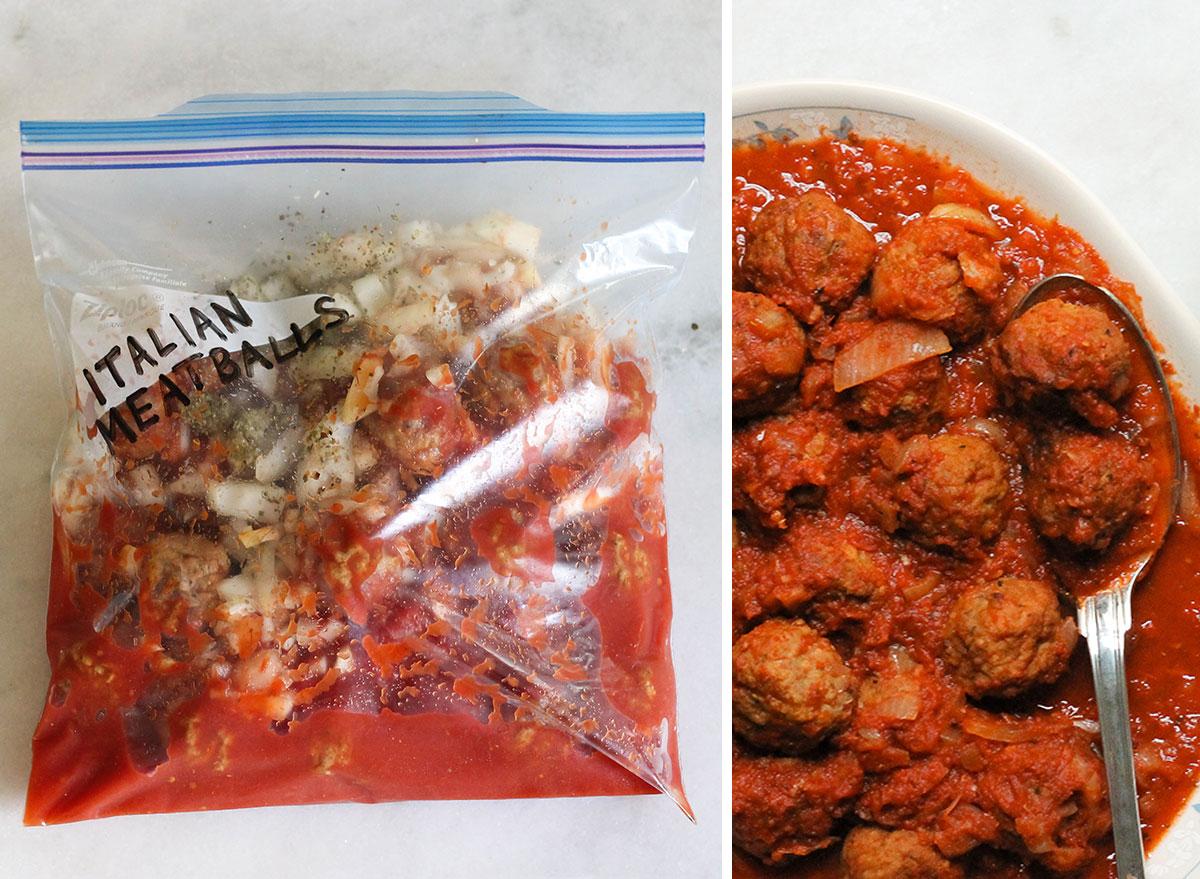 Crock pot freezer meal Italian meatballs next to plate of cooked meatballs