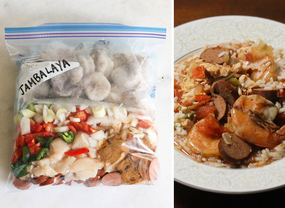 Jambalaya slow cooker freezer meal next to bowl of jambalaya