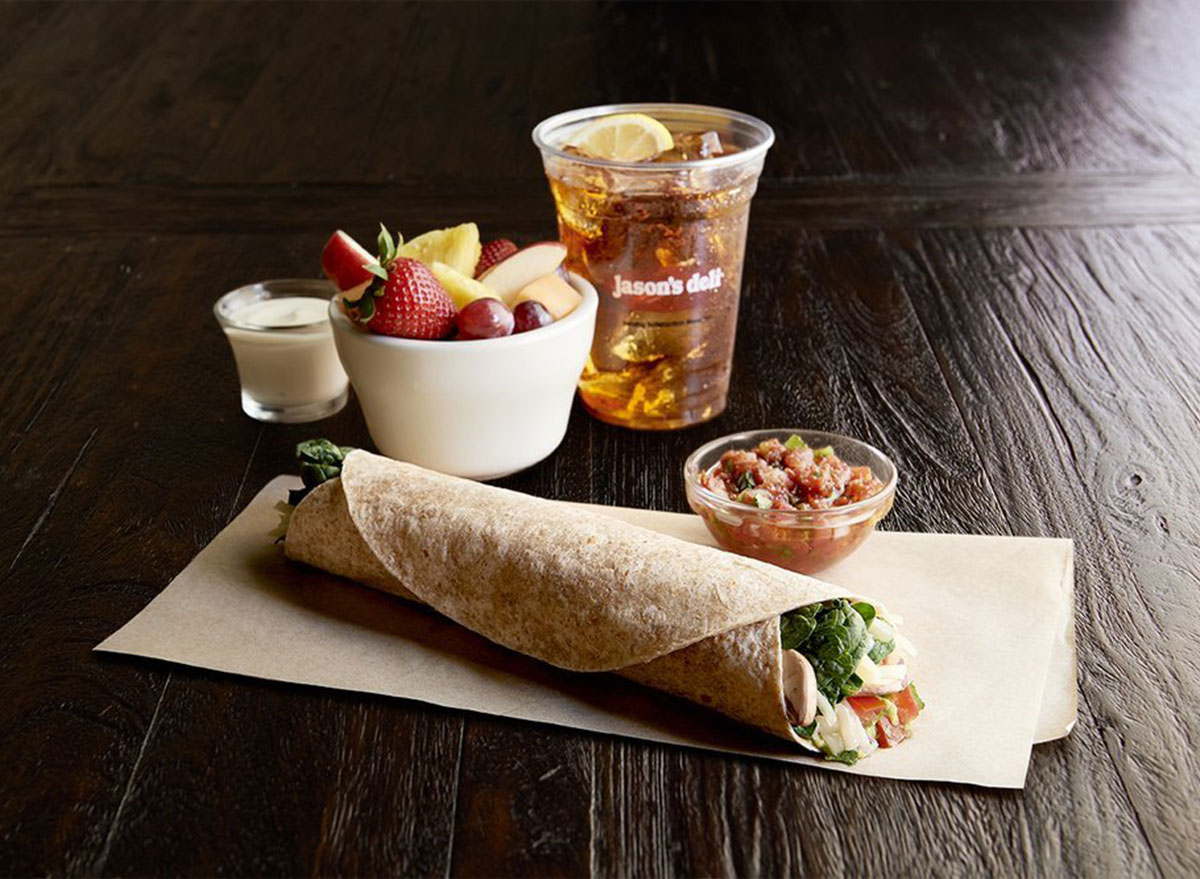jasons deli spinach wrap with fruit and iced tea
