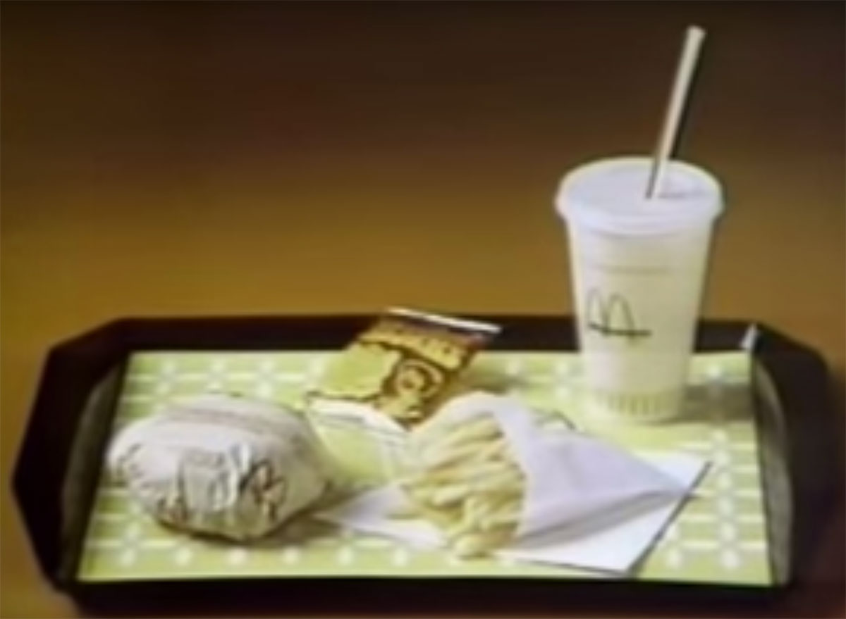 original happy meal with cheeseburger, fries, drink, cookie