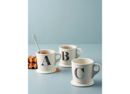 white mugs with letters on them, monogrammed kitchen accessories
