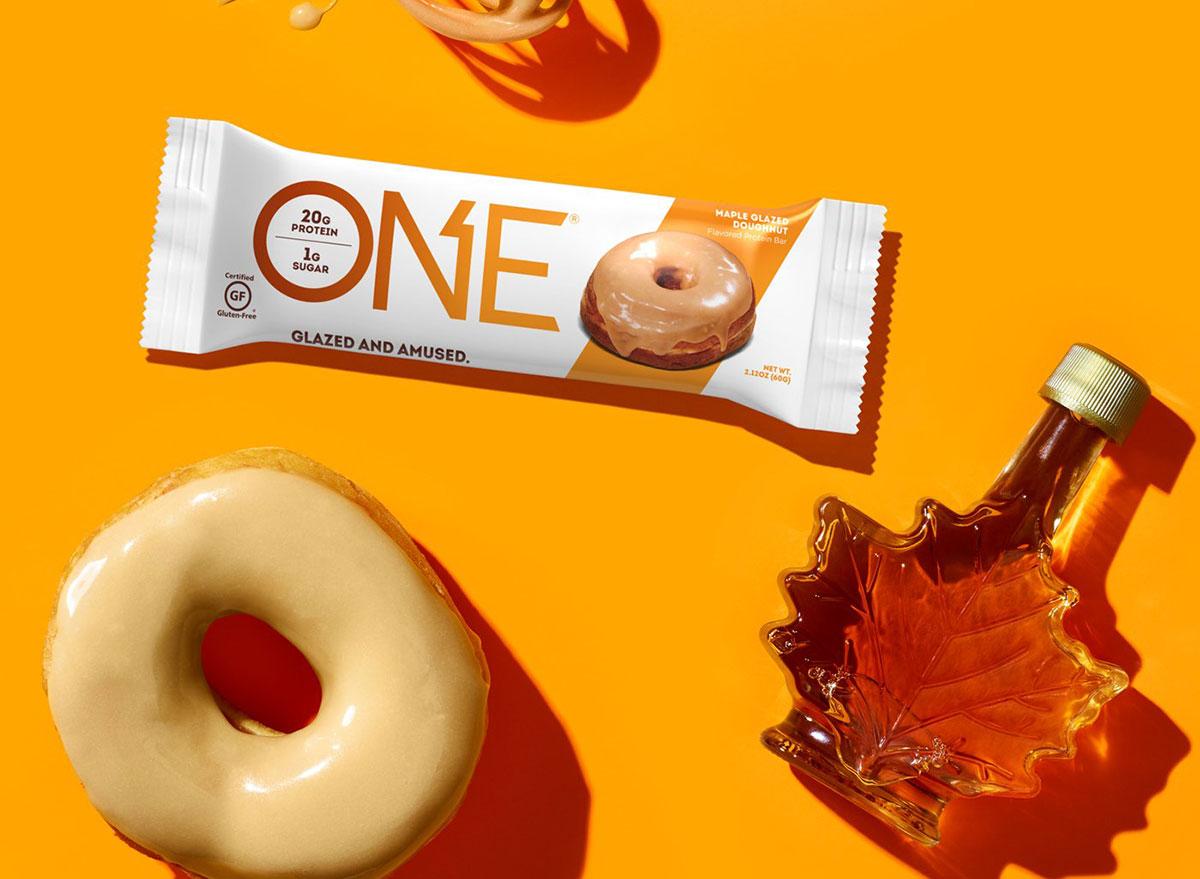 one protein bar maple glazed donut