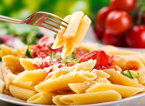plate penne pasta tomato sauce